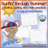 Surfin' through Summer! {reading, writing, and math practice)