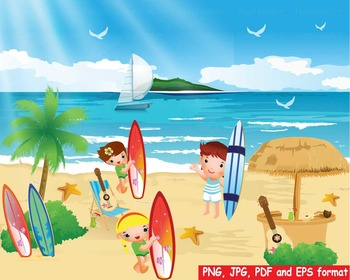 Surfing Beach Surf's Up ocean party summer vacation hawaii sea palm tree -157