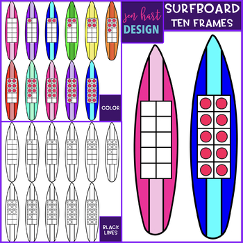 Surfboard Clip Art - Surfing Ten Frames {jen hart Clip Art}