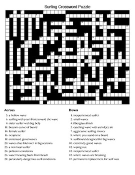Surfing Crossword & Word Search Puzzles