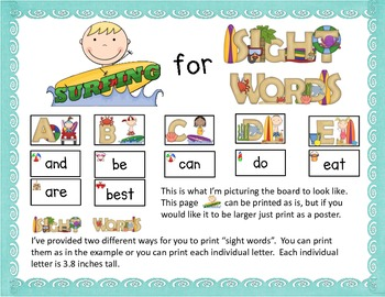 Surfing For Sight Words-an Ocean and Beach Themed Word Wall