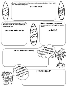 Surfing For Variables CCSS.5.OA.A.1