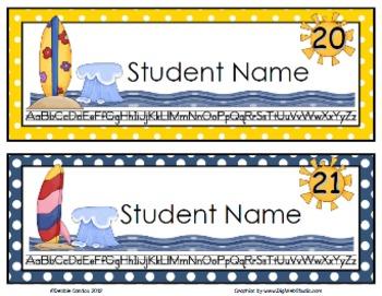 Surfing Kids Editable Name Tags