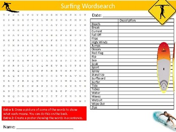 Surfing Wordsearch Sheet Starter Activity Keywords PE Sports Physical Education