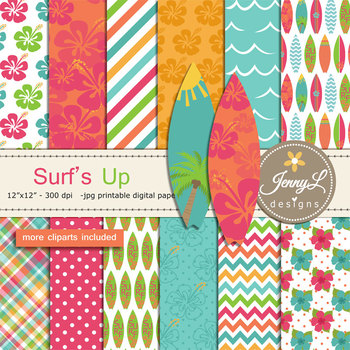 Surfing digital paper and clipart