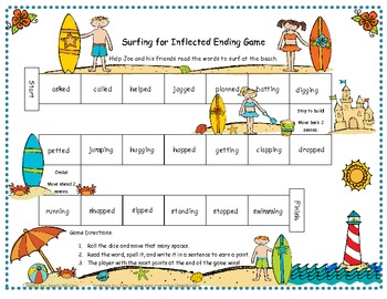 Surfing for Inflected Endings Literacy Station Game RF.1.3, RF.2.3