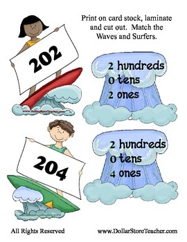 Surfing in the Sun - Placement Values to the Hundreds - 72 Sets Place Value