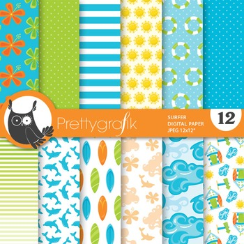 Surfing papers, commercial use, scrapbook papers, surf - PS747