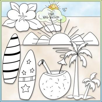 Surf's Up Clip Art - Beach Clip Art - CU Clip Art & B&W