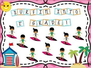 Bulletin Board Set: Surfing Themed Back To School Board