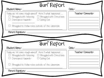 Surf's Up!  Behavior Management Display & Tracking System (Surf/Beach Theme)