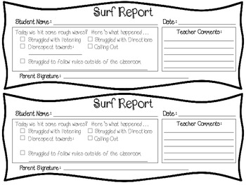 Surf's Up!  Behavior Management Display & Tracking System (Surf/Beach Theme)