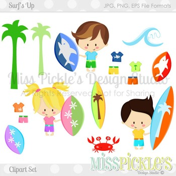 Surf's Up- Commercial Use Clipart Set