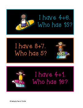 Surf's Up I have...Who has...? Addition Facts to 20
