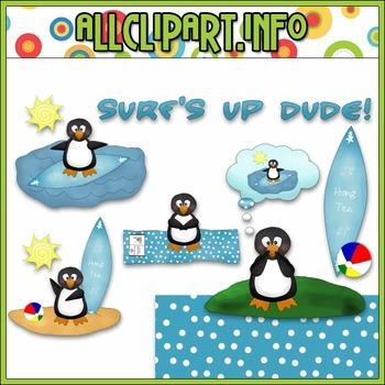 $1.00 BARGAIN BIN - Surf's Up Penguin Clip Art