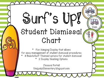 Surf's Up: Student Dismissal Chart Beach/Surf Theme (How We Go Home)