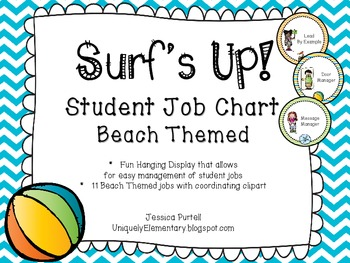 Surf's Up!  Student Job Chart (Surf/Beach Theme)