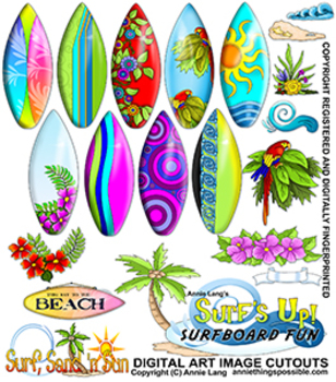 Surf's Up Surfboard Fun Clipart