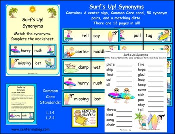 Surf's Up! Synonyms Center/Game (L.1.4, L.2.4)