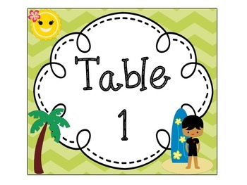 Table Signs: Surfing Theme