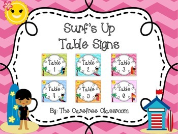 Surf's Up Table Signs