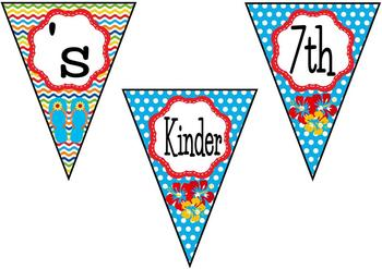 Surf's Up! Word Wall Headers and Title Pennants (surf, beach, or tropical theme)