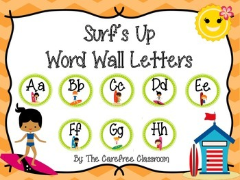 Surf's Up Word Wall Letters