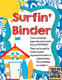 Surf's Up! Binder Pages (tropical/beach/surf theme) *editable*