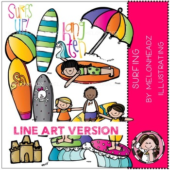 Surf's up by Melonheadz LINE ART