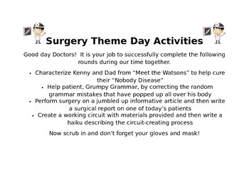 Surgery Theme Day Activities