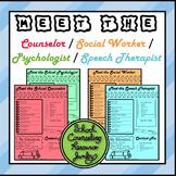 Editable Meet The Counselor / Social Worker / Speech Therapist / Psychologist