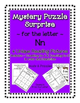 Surprise Mystery Puzzles for Teaching by the Letter N - Fluency & Number work