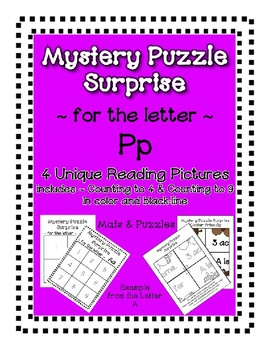 Surprise Mystery Puzzles for Teaching by the Letter P - Fluency & Number work