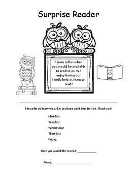 Surprise reader letter to parents