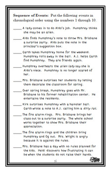 Surprises According to Humphrey (Betty G. Birney) Novel Study / Comprehension