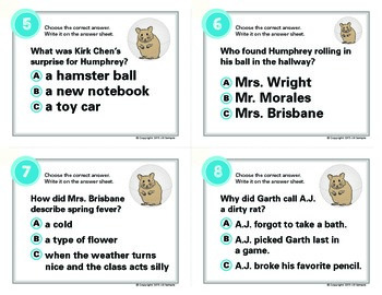 Surprises According to Humphrey Task Cards By Betty G. Birney