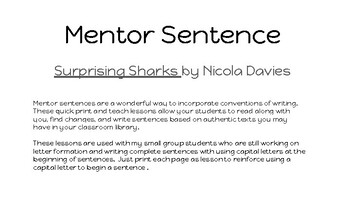 Surprising Sharks mentor sentence capital to begin a sentence POP lesson