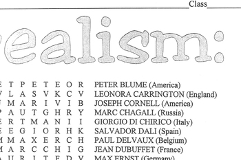 Word Search Surrealist Artists