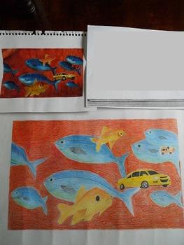 Surrealist Color Pencil Grid Drawings