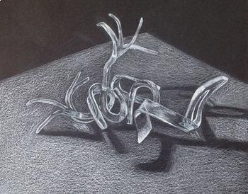 Surrealistic Silverware - White Colored Pencil