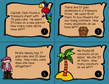 Surrender Your Booty! Pirate/Ocean Math Centers and Task Cards {Second Grade}