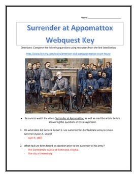 Surrender at Appomattox- Webquest with Key