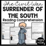 Surrender of the South- Civil War- Reading Comprehension Worksheet, Lee