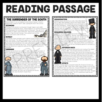 Surrender of the South- Civil War- Reading Comprehension Worksheet, Lee