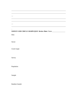 Surveys and Circle Graphs Quiz and Review Sheet
