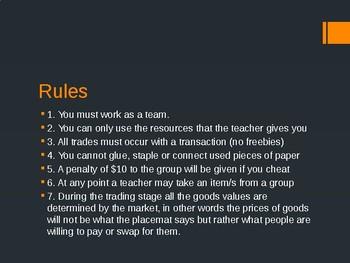 Survival Economics Game- Year 7 Economics