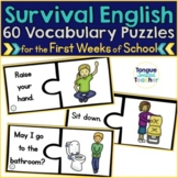 Survival English Puzzles {Questions, Commands, and Classroom Vocabulary}