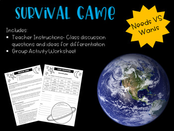 Survival Game (For Novel Study or teaching Needs vs Wants)