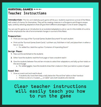 Survival Games; An Fun & Challenging Intro to Evolution & Adaptations!