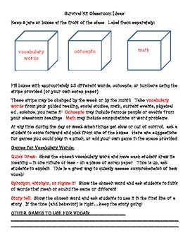 Survival Kit Classroom Games